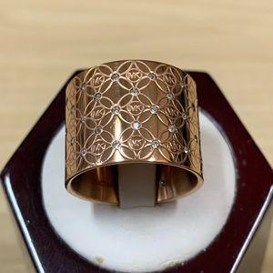 Michael Kors Rose Gold Monogram CZ Barrel Ring